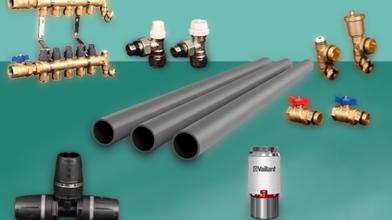 地暖管安装组件 (管道,系统配件,分集水器)等